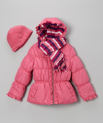 Strawberry Ruffle Puffer Coat Set - Toddler & Girls