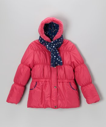 Fuchsia Heart Puffer Coat Set - Girls