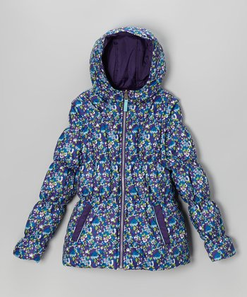 Purple Floral Reversible Puffer Coat - Girls