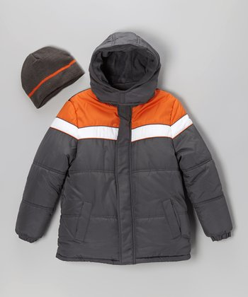 Gray & Orange Coat & Beanie - Toddler