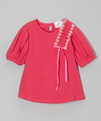 Hot Pink Pleated Bow Dress - Toddler & Girls
