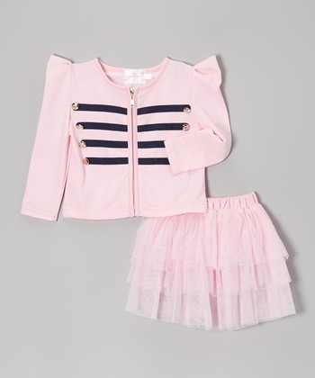 Pink Military Jacket & Tiered Skirt - Toddler & Girls