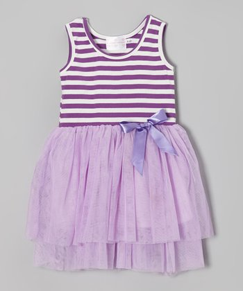 Lavender Stripe Bow Dress - Toddler & Girls