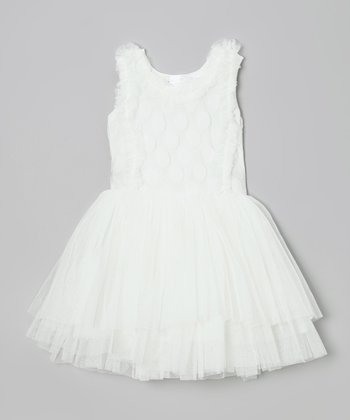 White Dot Ruffle Chiffon Dress - Toddler & Girls