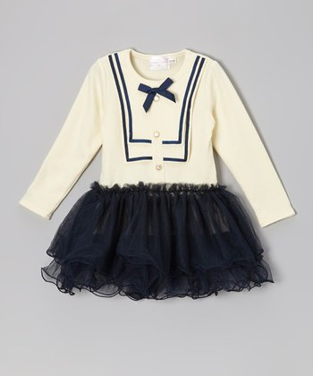 Ivory & Black Bow Flounce-Tiered Dress - Toddler & Girls