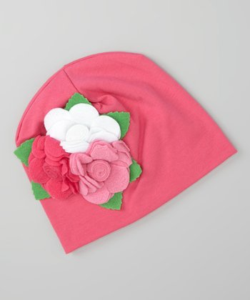 Hot Pink Flowers Beanie