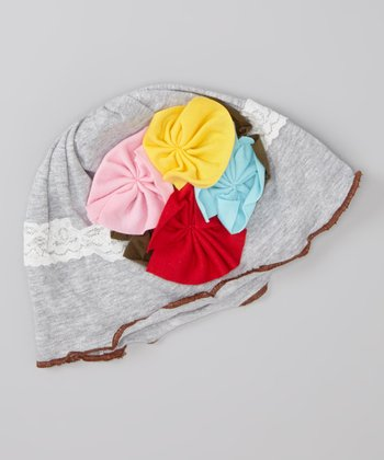 Gray Lace & Flowers Beanie - Infant & Toddler