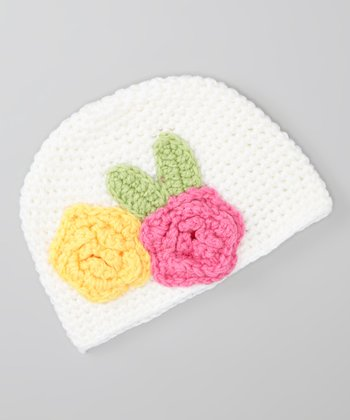 White & Yellow Floral Beanie