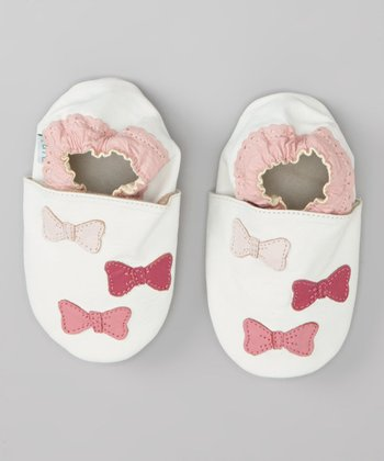 White & Pink Bow Leather Booties