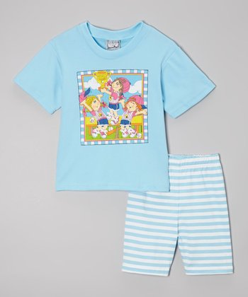 Blue Softball Tee & Shorts - Girls