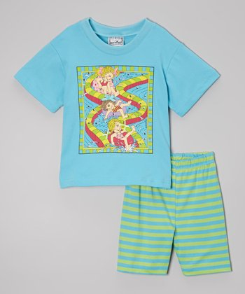 Turquoise Waterslide Tee & Shorts Set - Toddler & Girls