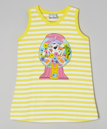 Yellow Stripe Bubble Gum Tank Dress - Toddler & Girls