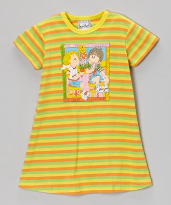 Yellow & Green Stripe Sorbet Tee Dress - Toddler & Girls