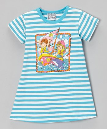 Blue Stripe Sailboat Tee Dress - Toddler