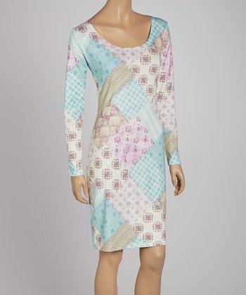 Mint Patchwork A-Line Knit Dress - Women