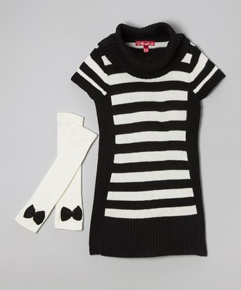 Black Stripe Sweater Dress & Arm Warmers - Toddler & Girls