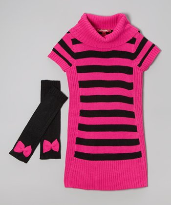 Lollipop Pink Sweater Dress & Arm Warmers - Toddler