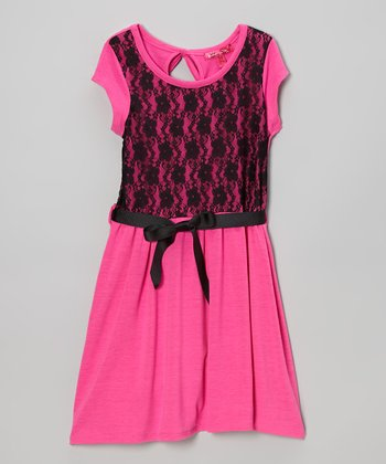 Lollipop Pink Lace Dress - Girls