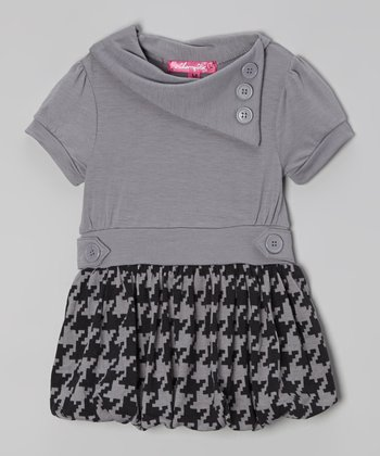 Gray Houndstooth Bubble Dress - Toddler & Girls