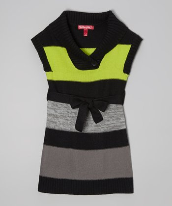 Bright Apple Stripe Sweater Dress - Infant