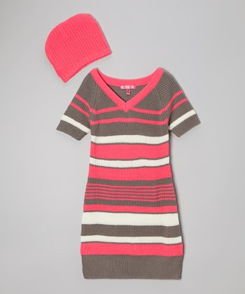 Knockout Pink Stripe Dress & Beanie - Girls