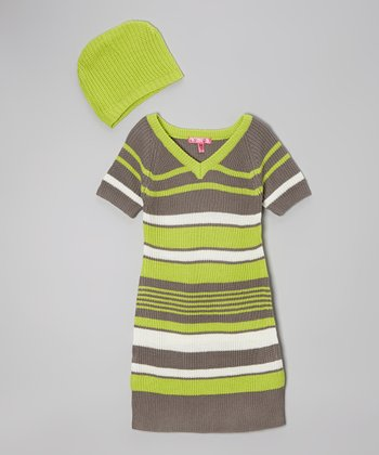 Bright Apple Stripe Dress & Beanie - Girls