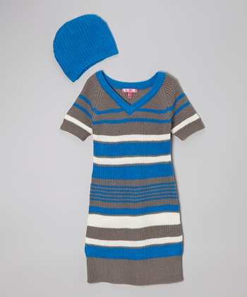 Electric Blue Stripe Dress & Beanie - Girls