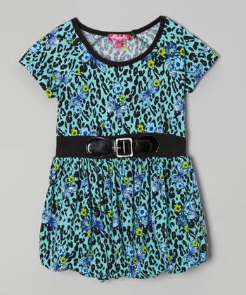 Mint Candy Cheetah & Butterfly Bubble Dress - Toddler & Girls