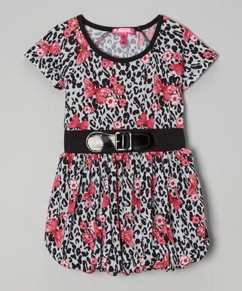 High Rise Cheetah & Butterfly Bubble Dress - Girls