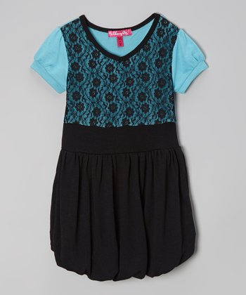 Bluebell & Black Lace Bubble Dress - Toddler & Girls