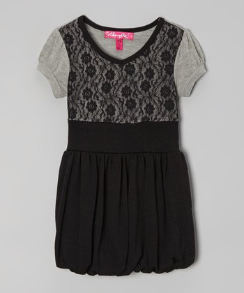 Heather Gray & Black Lace Bubble Dress - Girls