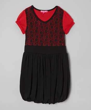 True Red & Black Lace Bubble Dress - Girls