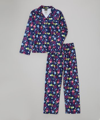 Navy Stars Pajama Set - Girls