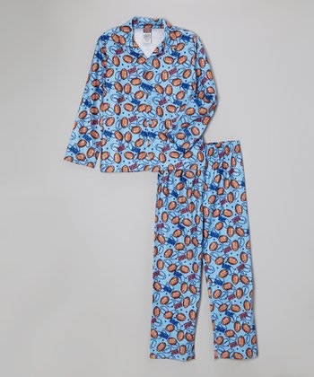 Light Blue Touchdown Pajama Set