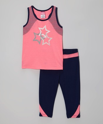 Pink Stars Racerback Tank & Navy Yoga Pants - Toddler & Girls