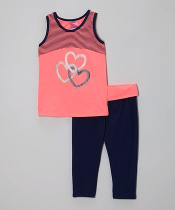 Pink Hearts Racerback Tank & Navy Yoga Pants - Girls