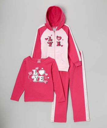 Fuchsia & Pink 'Love' Fleece Zip-Up Hoodie Set - Toddler