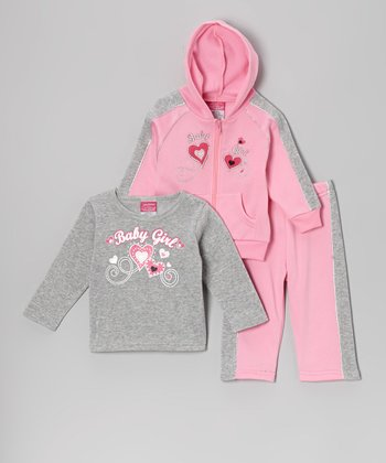Pink & Gray 'Baby Girl' Fleece Hoodie Set - Infant & Toddler