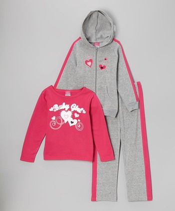 Gray & Fuchsia 'Baby Girl' Fleece Hoodie Set - Infant & Toddler