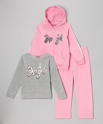 Pink & Gray 'Angel' Fleece Zip-Up Hoodie Set - Toddler