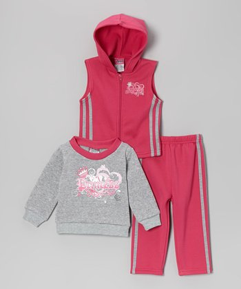 Fucshia 'Princess' Sleeveless Hoodie Set - Infant