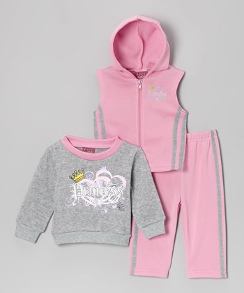 Pink & Gray 'Princess' Sleeveless Hoodie Set - Infant