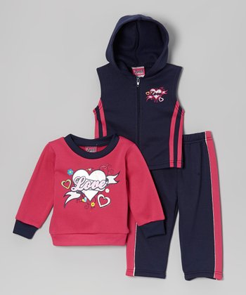 Navy & Fuchsia 'Love' Sleeveless Hoodie Set - Toddler