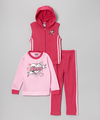 Fucshia & Pink 'Love' Sleeveless Hoodie Set - Toddler