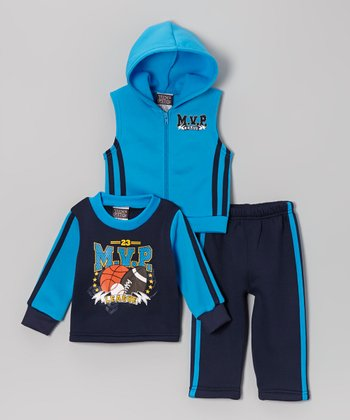 Blue & Navy 'MVP' Sleeveless Hoodie Set - Toddler
