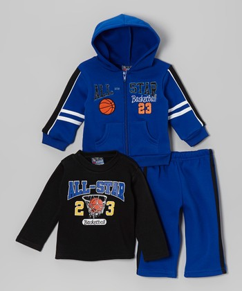 Blue & Black 'All-Star' Hoodie Set - Toddler