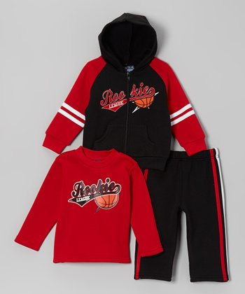 Black & Red 'Rookie' Hoodie Set - Infant, Toddler & Boys