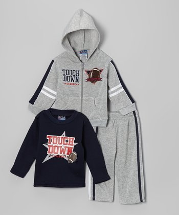 Gray & Navy 'Touchdown' Hoodie Set - Infant & Toddler