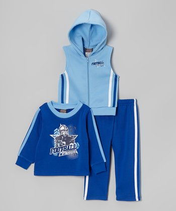 Blue 'Football League' Sleeveless Hoodie Set - Toddler