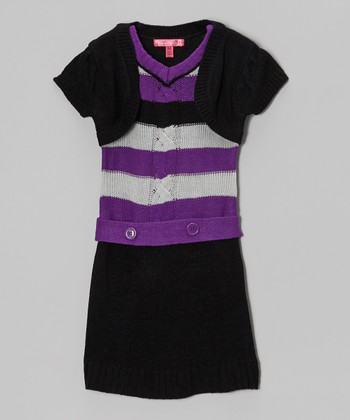 Purple Magic Stripe Layered Sweater Dress - Girls